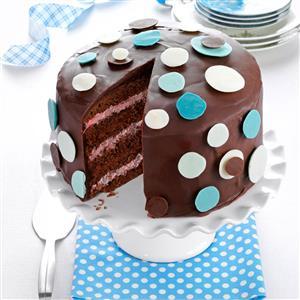 Chocolate-Raspberry Polka Dot Cake Recipe