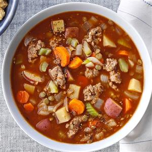 Chunky Sausage Lentil Soup Recipe