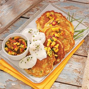 Corn Cakes with Poached Eggs and Mango Salsa Recipe