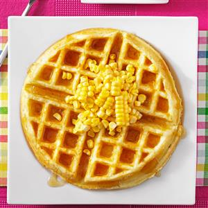 Corn Fritter Waffles with Spicy Maple Syrup Recipe