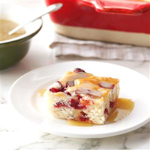 Cranberry Cake with Caramel Sauce