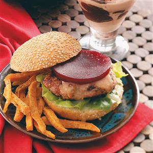 Cranburgers with Sweet Potato Fries Recipe