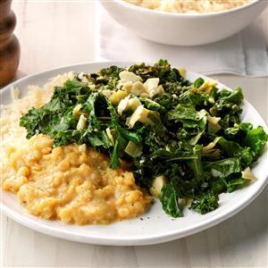 Creamy Lentils with Kale Artichoke Saute Recipe