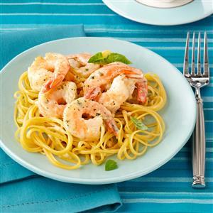 Creamy Pesto Shrimp Linguine Recipe
