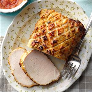 Dijon-Rubbed Pork with Rhubarb Sauce Recipe