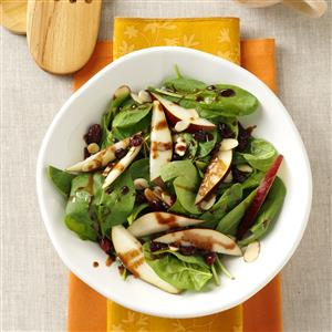 Spinach Pear Salad with Chocolate Vinaigrette Recipe