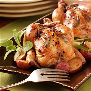 Herb-Stuffed Roasted Cornish Hens Recipe