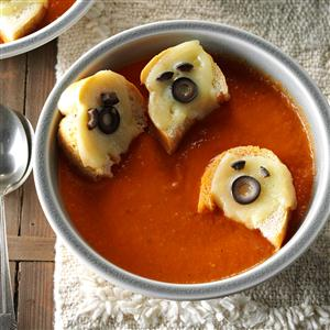 Tomato Soup with Cheesy Ghost Croutons Recipe