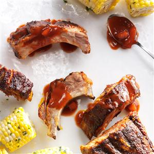 Slow Cooker Peach BBQ Ribs