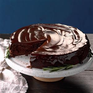 Flourless Chocolate Cake with Rosemary Ganache Recipe