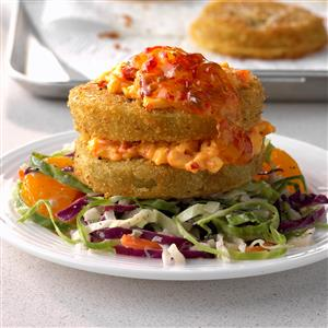 Fried Green Napoleons with Mandarin Coleslaw Recipe