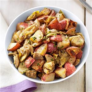 Garlic and Artichoke Roasted Potatoes Recipe