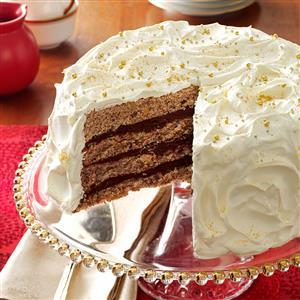 Gilded Mocha-Walnut Layer Cake Recipe
