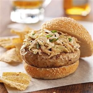 Ginger Chicken Burgers with Sesame Slaw Recipe