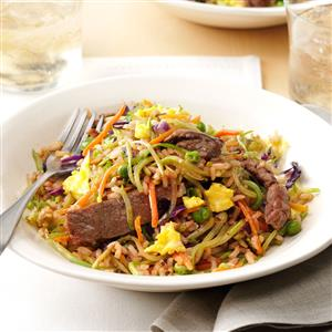 Ginger Steak Fried Rice Recipe