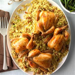 Glazed Cornish Hens with Pecan-Rice Stuffing Recipe