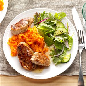 Glazed Pork on Sweet Potato Beds Recipe