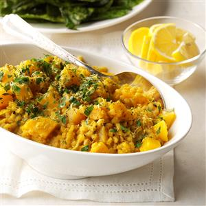 Golden Beet Curry Risotto with Crispy Beet Greens Recipe