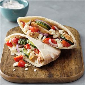 Greek Grilled Chicken Pitas Recipe
