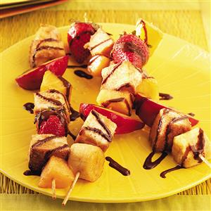 Grilled Fruit Skewers with Chocolate Syrup Recipe