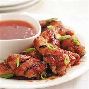 Grilled Peach BBQ Chicken Wings Recipe