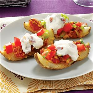 Grilled Potato Skins with Creamy Topping Recipe