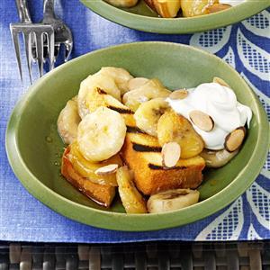 Grilled Pound Cake with Warm Amaretto Bananas Recipe