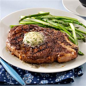 Grilled Ribeyes with Herb Butter Recipe