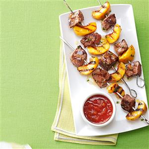 Grilled Sirloin Kabobs with Peach Salsa