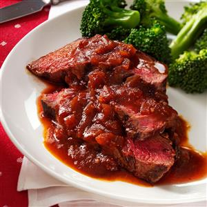 Grilled Sirloin with Chili-Beer Barbecue Sauce Recipe