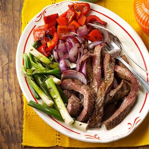 Grilled Skirt Steak with Red Peppers & Onions Recipe
