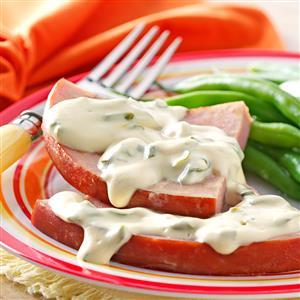 Ham with Mustard-Cream Sauce Recipe