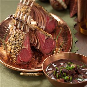 Herb-Crusted Rack of Lamb with Mushroom Sauce