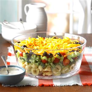 Layered Veggie Tortellini Salad Recipe
