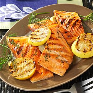 Lemony Grilled Salmon Fillets with Dill Sauce Recipe