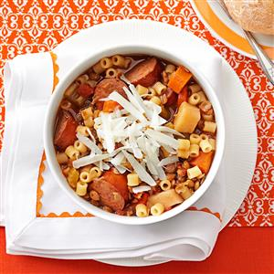 Lentil and Pasta Stew Recipe