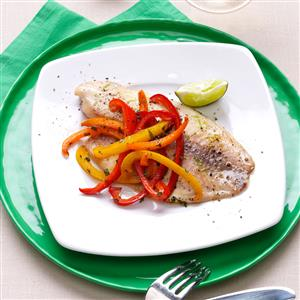 Lime Tilapia with Crisp-Tender Peppers Recipe