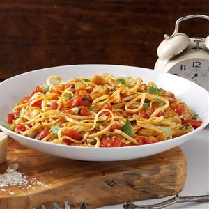 Linguine with Artichoke-Tomato Sauce Recipe