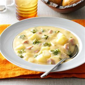 Makeover Cheesy Ham 'N' Potato Soup Recipe