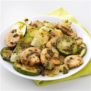 Mushroom & Zucchini Pesto Saute Recipe