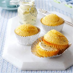 Mushroom Corn Muffins with Chive Butter Recipe