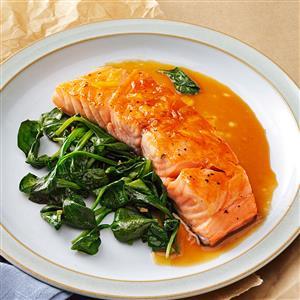 Orange Salmon with Sauteed Spinach Recipe