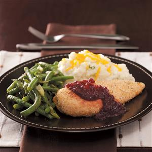 Oven-Fried Chicken with Cranberry Sauce Recipe