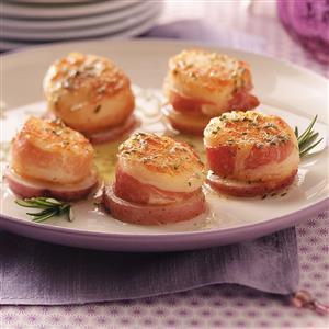Pancetta Scallops on Potato Rounds Recipe
