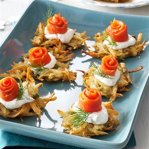 Parsnip Latkes with Lox and Horseradish Creme Recipe
