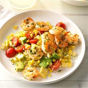 Pesto Corn Salad with Shrimp Recipe