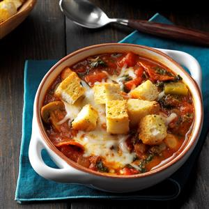 Pizza Soup with Garlic Toast Croutons Recipe