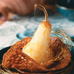Poached Pears in Lace Cookie Cups Recipe