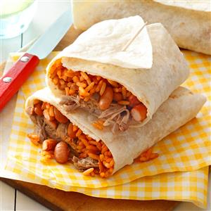 Pork, Bean & Rice Burritos Recipe