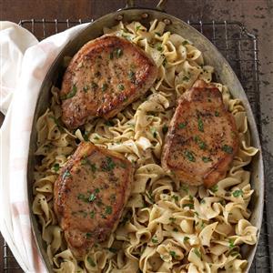 Pork Chops with Creamy Mustard Noodles Recipe